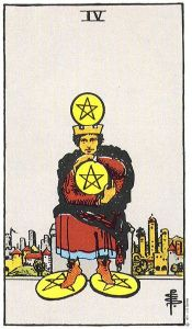 Rider Waite 4 of pentacles